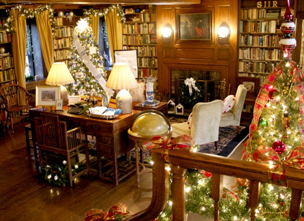 Pearl S. Buck House ecorated for the holidays with lights and trees