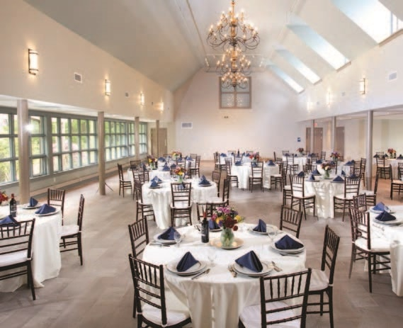 Decorated tables for an event in the Janet L. Mintzer Center