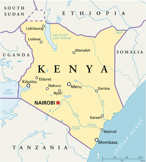 Political map of Kenya with capital Nairobi, national borders, most important cities, rivers and lakes. Vector illustration with English labeling and scaling.