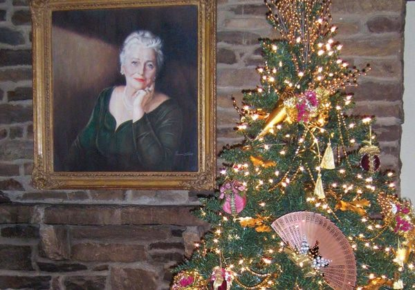 Painting of Pearl Buck and Christmas tree